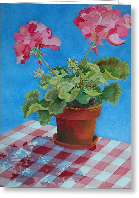 Checked Tablecloths Paintings Greeting Cards - Afternoon Shadows Greeting Card by Mary Ellen  Mueller Legault