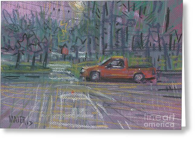 Truck Drawings Greeting Cards - Afternoon Shower Greeting Card by Donald Maier