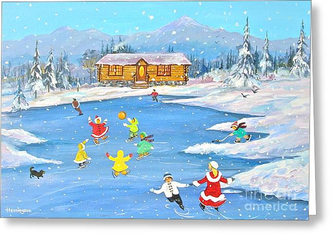 Log Cabin Paintings Greeting Cards - Afternoon Skaters Greeting Card by Virginia Ann Hemingson