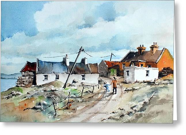 Afternoon Stroll In Dugort Achill Greeting Card by Val Byrne