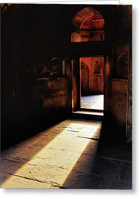 Afternoon Sunlight Through Doorway Greeting Card by Adam Jones