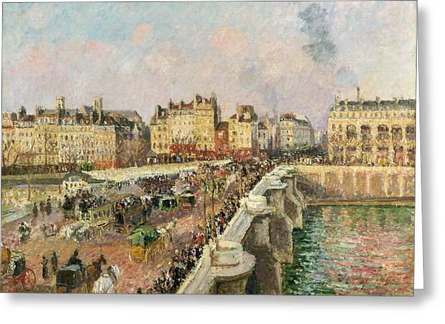 Camille Pissarro Greeting Cards - Afternoon Sunshine. Pont Neuf Greeting Card by Camille Pissarro
