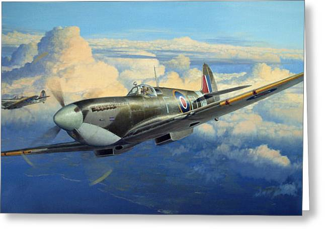 Military Airplanes Paintings Greeting Cards - Afternoon Sweep Greeting Card by Steven Heyen