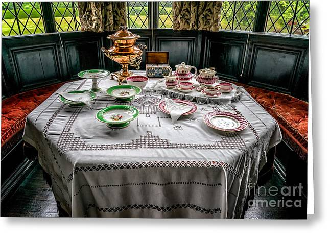 Table-cloth Greeting Cards - Afternoon Tea Greeting Card by Adrian Evans