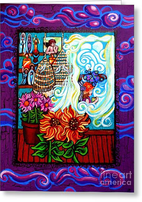Print On Canvas Mixed Media Greeting Cards - Afternoon Tea By The Window Greeting Card by Genevieve Esson