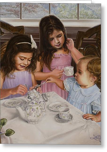 Baby Sister Greeting Cards - Afternoon Tea Greeting Card by James Loveless