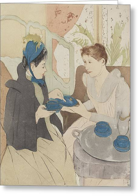 Cassatt Greeting Cards - Afternoon Tea Party Greeting Card by Celestial Images