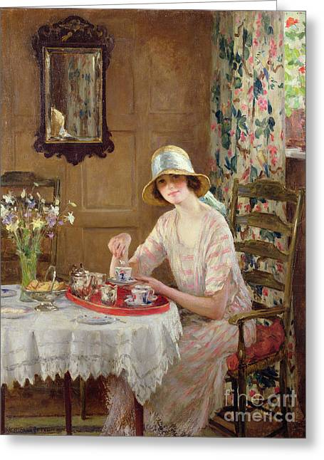 Lace Curtains Greeting Cards - Afternoon Tea Greeting Card by William Henry Margetson