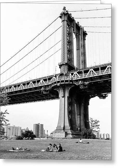 Afternoon Under The Manhattan Bridge - Brooklyn Bridge Park Greeting Card by Gary Heller