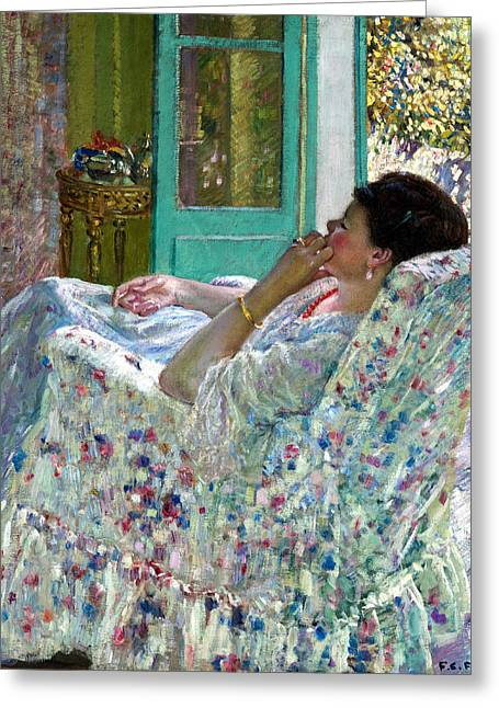 Gold Bracelet Greeting Cards - Afternoon Yellow Room Greeting Card by Carl Frieseke