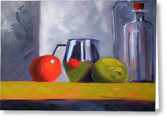 Indoor Still Life Paintings Greeting Cards - Against Giants Greeting Card by Nancy Merkle