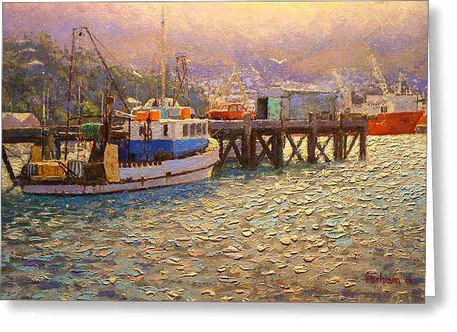 Terry Perham Greeting Cards - Against the light Lyttleton harbour Greeting Card by Terry Perham