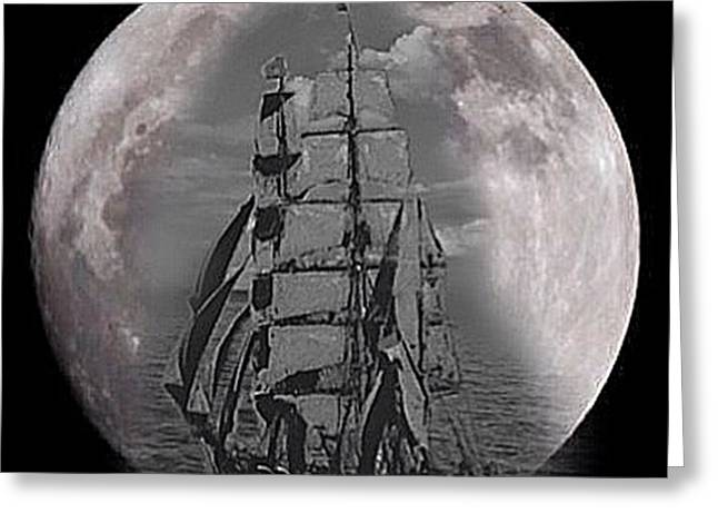 Masts Greeting Cards - Against the Moon Greeting Card by Blair Stuart