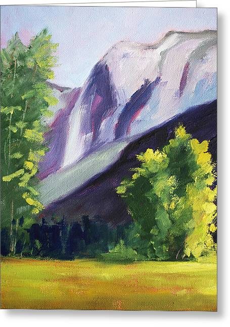 Nature Scene Paintings Greeting Cards - Against the Mountain Landscape Oil Painting Greeting Card by Nancy Merkle