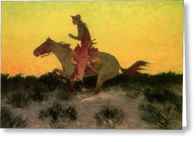 Against The Sunset Greeting Card by Frederic Remington
