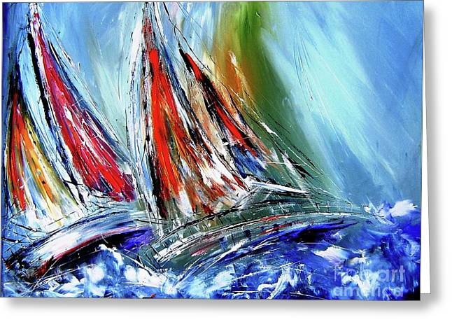 Splish Splash Greeting Cards - Against the wind  Greeting Card by Mary Cahalan Lee