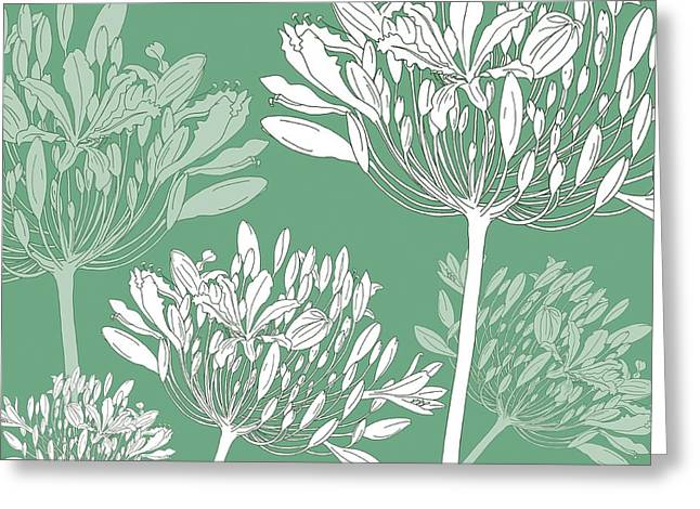Agapanthus Greeting Cards - Agapanthus breeze Greeting Card by Sarah Hough