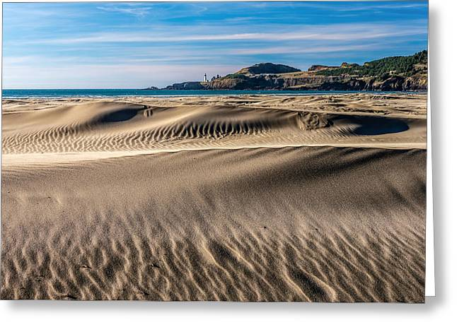 Agate Beach Oregon Greeting Cards - Agate Beach Dunes and Yaquina Head Light Greeting Card by Greg Stene