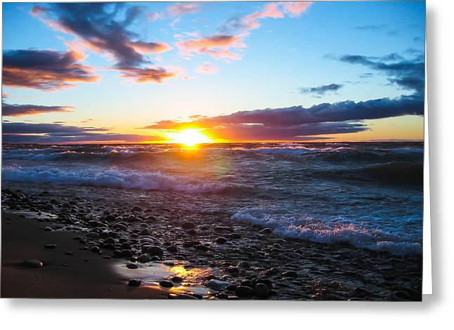 Agate Beach Greeting Cards - Agate Beach Sunset Greeting Card by Lee and Michael Beek