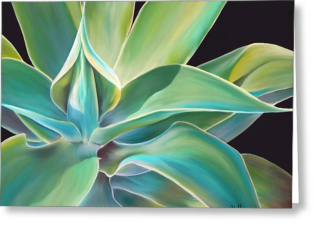 Gold Lime Green Pastels Greeting Cards - Agave 2 Greeting Card by Laura Bell