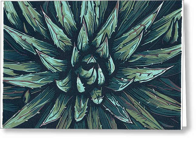Linocut Paintings Greeting Cards - Agave - Linocut Print Greeting Card by Manny Mellor