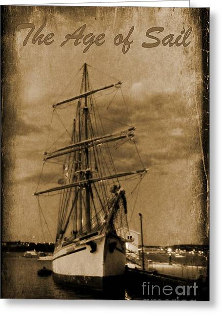 Ship In Sepia Greeting Cards - Age of Sail Poster Greeting Card by John Malone Halifax photographer