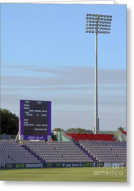 Ageas Bowl Score Board And Floodlights Southampton Greeting Card by Terri Waters