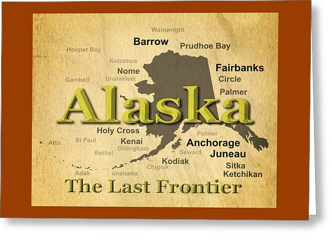 Kodiak Digital Greeting Cards - Aged Alaska State Pride Map Silhouette  Greeting Card by Keith Webber Jr