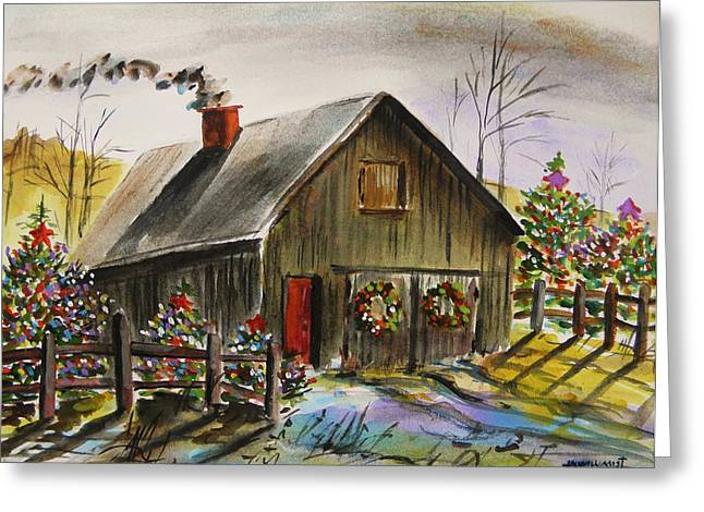 Barn Door Drawings Greeting Cards - Aged and Decorated Greeting Card by John  Williams