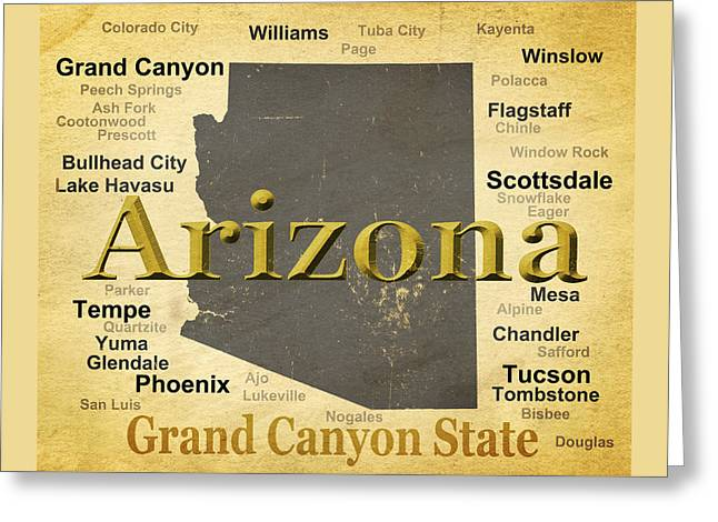 Grand Canyon State Greeting Cards - Aged Arizona State Pride Map Silhouette  Greeting Card by Keith Webber Jr