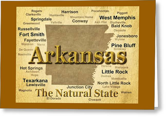 Russellville Arkansas Greeting Cards - Aged Arkansas State Pride Map Silhouette  Greeting Card by Keith Webber Jr