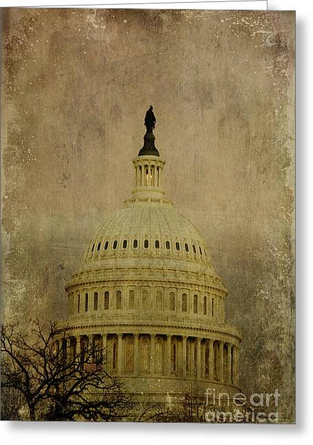 Altered Architecture Greeting Cards - Aged Capitol Dome Greeting Card by Terry Rowe