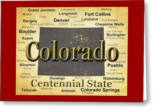 Dinosaur Map Digital Art Greeting Cards - Aged Colorado State Pride Map Silhouette  Greeting Card by Keith Webber Jr