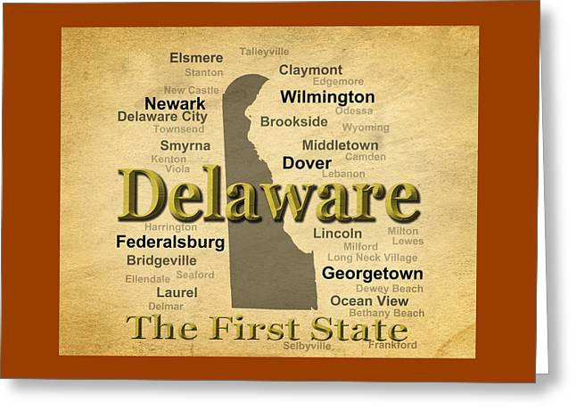 Smyrna Greeting Cards - Aged Delaware State Pride Map Silhouette  Greeting Card by Keith Webber Jr