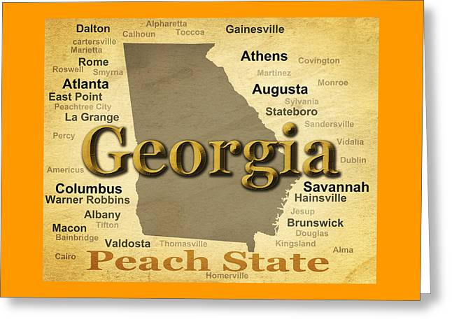Aged Georgia State Pride Map Silhouette  Greeting Card by Keith Webber Jr