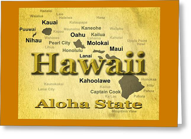 Molokai Greeting Cards - Aged Hawaii State Pride Map Silhouette  Greeting Card by Keith Webber Jr