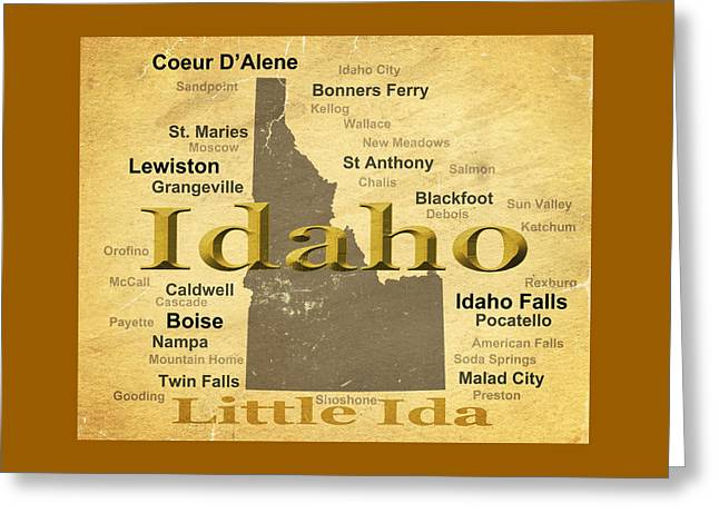 Idaho Greeting Cards - Aged Idaho State Pride Map Silhouette  Greeting Card by Keith Webber Jr