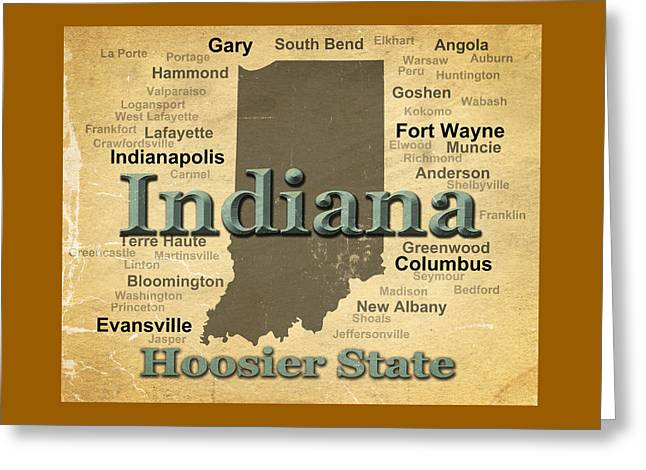 Aged Indiana State Pride Map Silhouette  Greeting Card by Keith Webber Jr