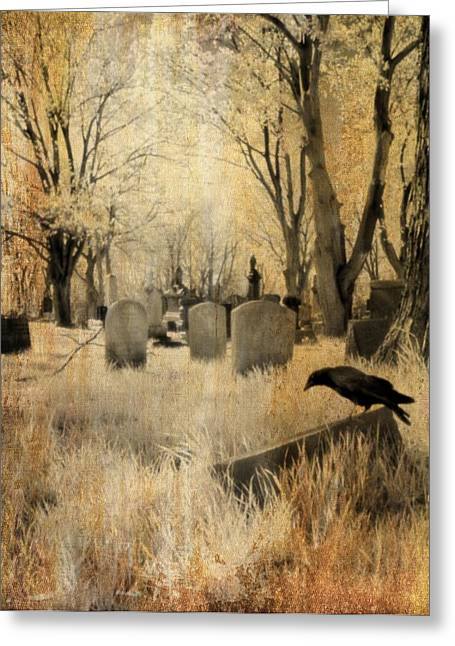 Birds In Graveyard Greeting Cards - Aged Infrared Greeting Card by Gothicolors Donna Snyder