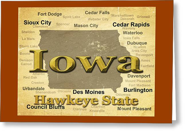 Des Moines Greeting Cards - Aged Iowa State Pride Map Silhouette  Greeting Card by Keith Webber Jr