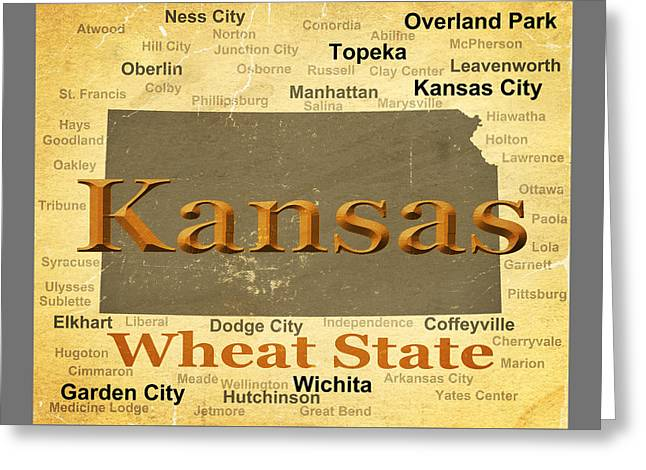 Leavenworth Greeting Cards - Aged Kansas State Pride Map Silhouette  Greeting Card by Keith Webber Jr