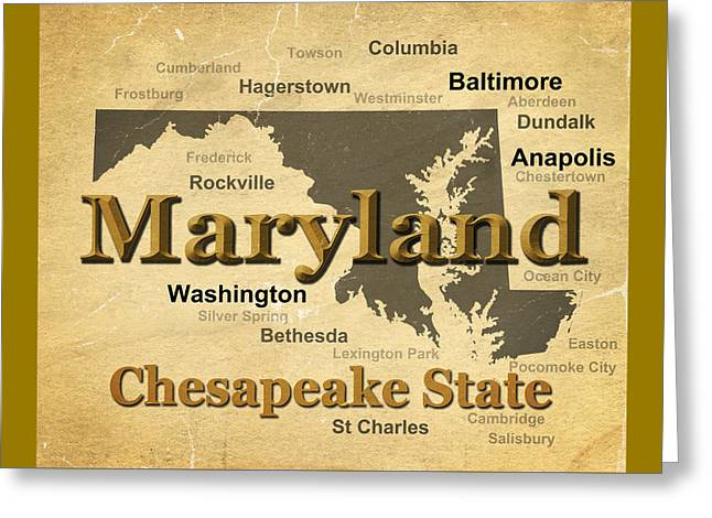 Rockville Greeting Cards - Aged Maryland State Pride Map Silhouette  Greeting Card by Keith Webber Jr