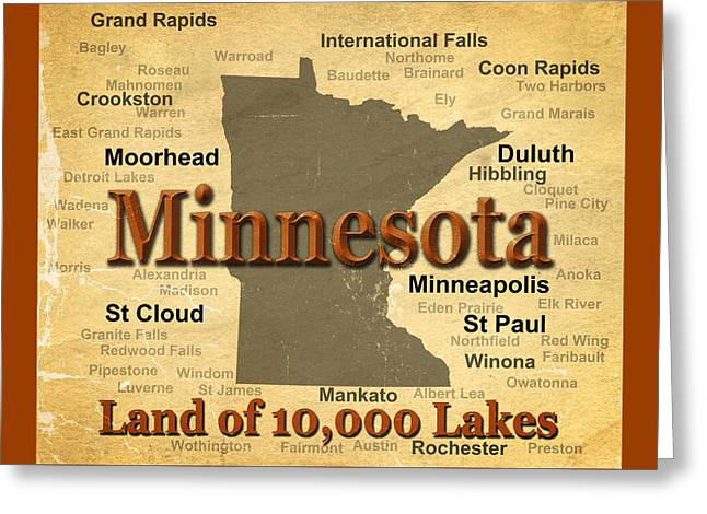 Rochester Greeting Cards - Aged Minnesota State Pride Map Silhouette  Greeting Card by Keith Webber Jr
