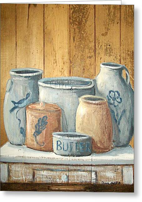 Stoneware Paintings Greeting Cards - Aged Stoneware Greeting Card by Dona Maria Brown