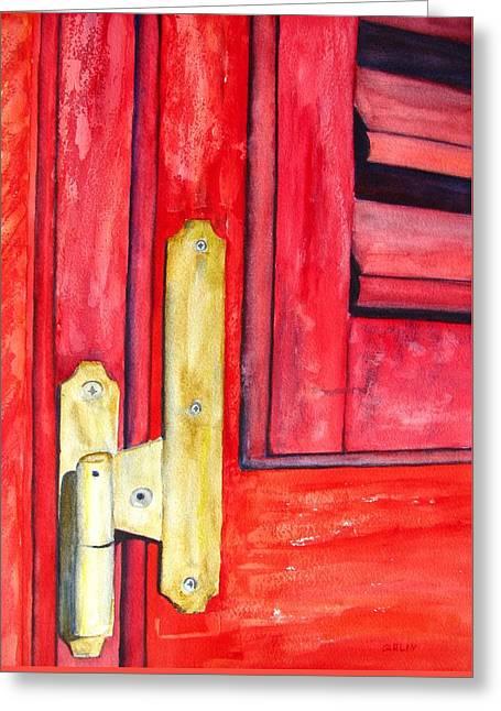 Hardware Paintings Greeting Cards - Aged Window Shutter Hinge Greeting Card by Carlin Blahnik