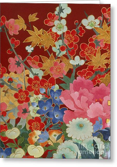 Dancing Petals Greeting Cards - Agemaki Crop I Greeting Card by Haruyo Morita