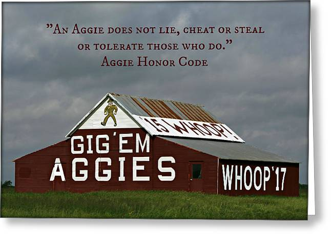College Spirit Greeting Cards - Aggie Honor Greeting Card by Stephen Stookey