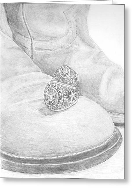 Texas A Drawings Greeting Cards - Aggie Rings Greeting Card by Michael Penny