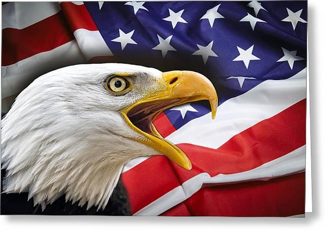 Hallmark Digital Art Greeting Cards - AGGRESSIVE EAGLE and UNITED STATES FLAG Greeting Card by Daniel Hagerman