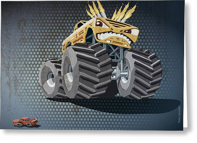 Motor Greeting Cards - Aggressive Monster Truck Grunge Color Greeting Card by Frank Ramspott